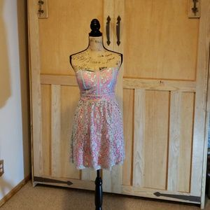 Pink & blue lace club dress
